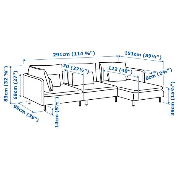 SÖDERHAMN เซอเดอร์ฮัมน์ โซฟา4ที่นั่ง, +เก้าอี้นวมตัวยาว/วีอาร์พ เบจ/น้ำตาล
