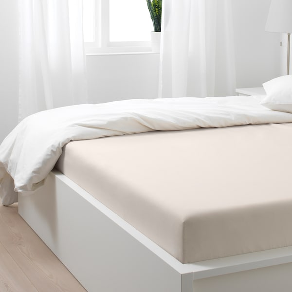SÖMNTUTA เซิมทุตา ผ้าปูที่นอนรัดมุม, ไลท์เบจ, 140x200 ซม.