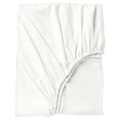 SÖMNTUTA เซิมทุตา ผ้าปูที่นอนรัดมุม, ขาว, 180x200 ซม.