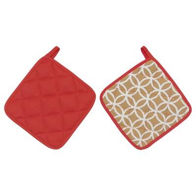 SOLGLIMTAR โซลกลิมตาร์ ผ้าจับของร้อน, แดง/น้ำตาล, 21x21 ซม.
