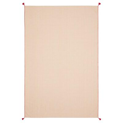 SOLGLIMTAR โซลกลิมตาร์ ผ้าปูโต๊ะ, น้ำตาล/ขาว, 145x220 ซม.