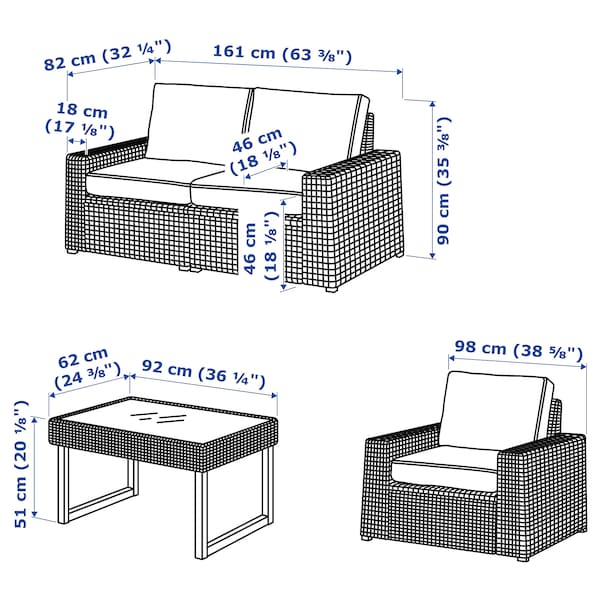 โซลเลราน ชุดโต๊ะรับแขก4ที่นั่ง กลางแจ้ง