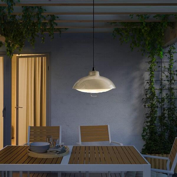SOLVINDEN ซูลวินเดน โคมไฟแขวนเพดาน LED พลังแสงอาทิตย์, เฟอร์นิเจอร์สนาม/เบจ, 38 ซม.