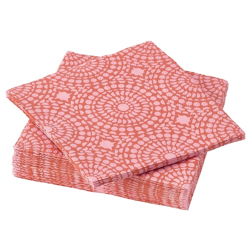 ซอมมาร์ลิฟ กระดาษเช็ดปาก มีลาย/ส้ม/ชมพู 24 ซม. 24 ซม. 30 ชิ้น