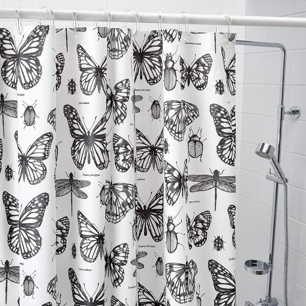 SOMMARMALVA ซอมมาร์มัลวา ผ้าม่านห้องน้ำ, ขาว/เทาเข้ม, 180x200 ซม.