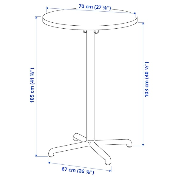 STENSELE สเทนเซเลอ โต๊ะบาร์, สีแอนทราไซต์/สีแอนทราไซต์, 70 ซม.