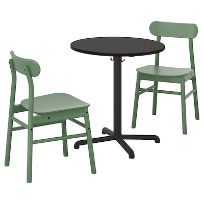STENSELE สเทนเซเลอ / RÖNNINGE เรินนิงเง ชุดโต๊ะและเก้าอี้ 2 ตัว, สีแอนทราไซต์ สีแอนทราไซต์/เขียว