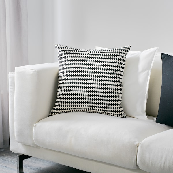 STOCKHOLM สตอคโฮล์ม หมอนอิง, ดำ/ขาว, 50x50 ซม.