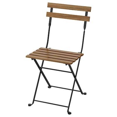 TÄRNÖ แทร์นเออ เก้าอี้สนาม, พับได้ ดำ/ย้อมสีน้ำตาลอ่อน