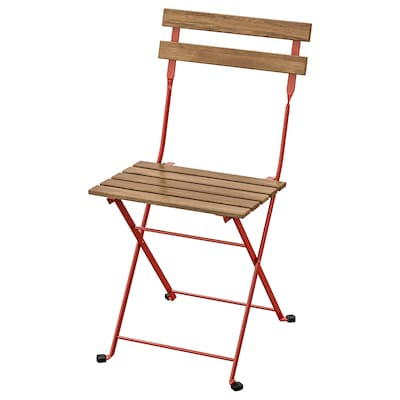 TÄRNÖ แทร์นเออ เก้าอี้สนาม, พับได้/แดง ย้อมสีน้ำตาลอ่อน