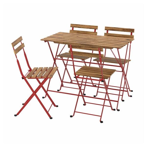 TÄRNÖ แทร์นเออ โต๊ะ+เก้าอี้ 4 ตัว กลางแจ้ง, แดง/ย้อมสีน้ำตาลอ่อน