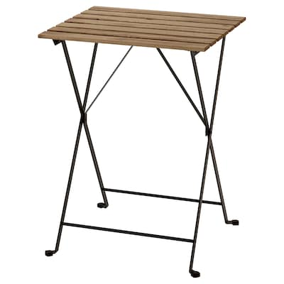 TÄRNÖ แทร์นเออ โต๊ะ กลางแจ้ง, ดำ/ย้อมสีน้ำตาลอ่อน, 55x54 ซม.