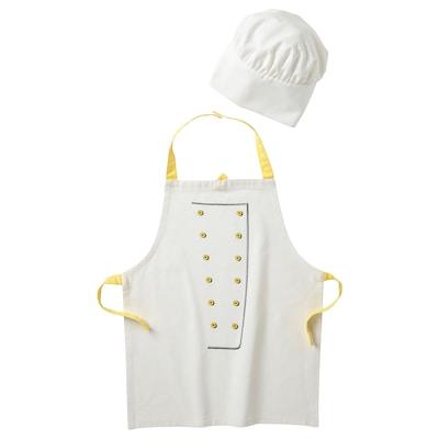 TOPPKLOCKA ท็อปคล็อคกา ผ้ากันเปื้อน/หมวกพ่อครัวสำหรับเด็ก, ขาว/เหลือง