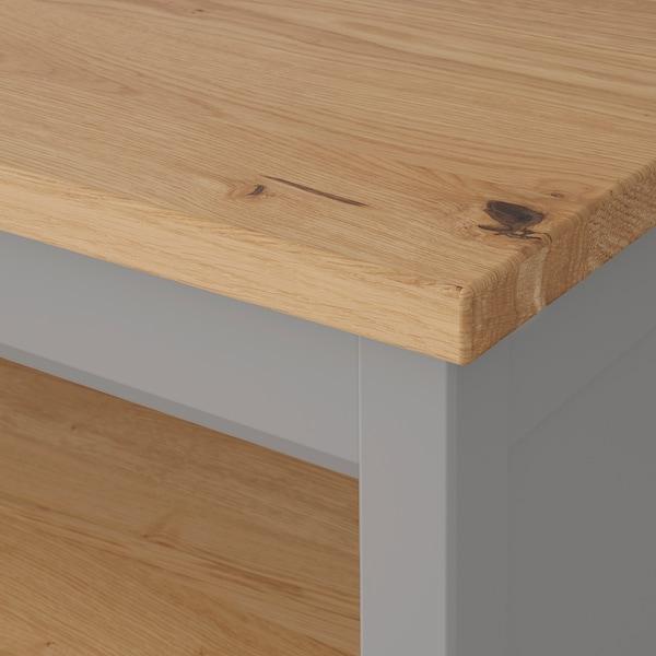 TORNVIKEN ทูร์นวีคเกน โต๊ะเตรียมอาหาร, เทา/ไม้โอ๊ค, 126x77 ซม.