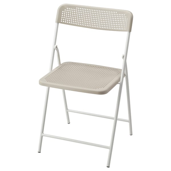 TORPARÖ ทอร์พาเรอ เก้าอี้ ในร่ม/กลางแจ้ง, พับได้ ขาว/เบจ