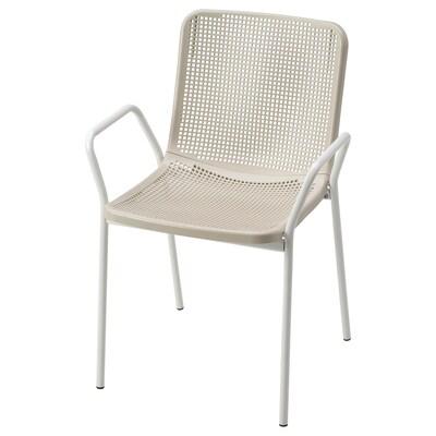 TORPARÖ ทอร์พาเรอ เก้าอี้มีที่วางแขน ใน/นอกอาคาร, ขาว/เบจ
