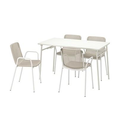 TORPARÖ ทอร์พาเรอ โต๊ะ+เก้าอี้วางแขน4ตัว กลางแจ้ง, ขาว/เบจ, 130 ซม.