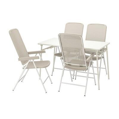 TORPARÖ ทอร์พาเรอ โต๊ะ+เก้าอี้ปรับเอนได้4ตัว กลางแจ้ง, ขาว/เบจ, 130 ซม.