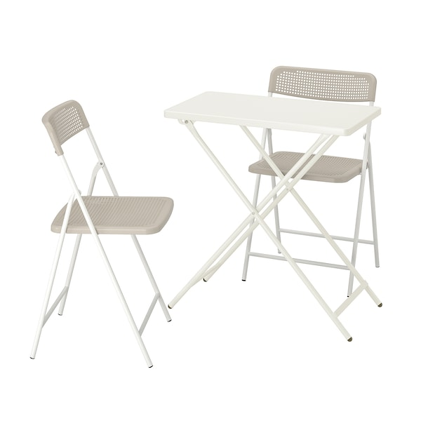 TORPARÖ ทอร์พาเรอ ชุดโต๊ะสนามและเก้าอี้พับ2ตัว, ขาว/เบจ, 70x42 ซม.