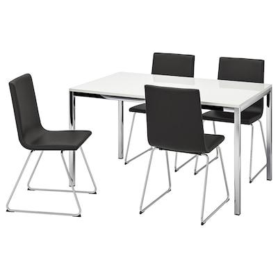 TORSBY ทูร์ชบี / VOLFGANG โวล์ฟแก็ง โต๊ะและเก้าอี้ 4 ตัว, ไฮกลอส ขาว/บุมสตอด ดำ