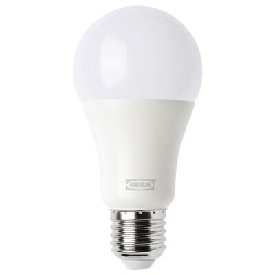 TRÅDFRI ทรวดฟรี หลอดไฟ LED E27 1000 ลูเมน, ไร้สาย หรี่ไฟได้ สีวอร์มไวท์/หลอดหลม แก้วฝ้า