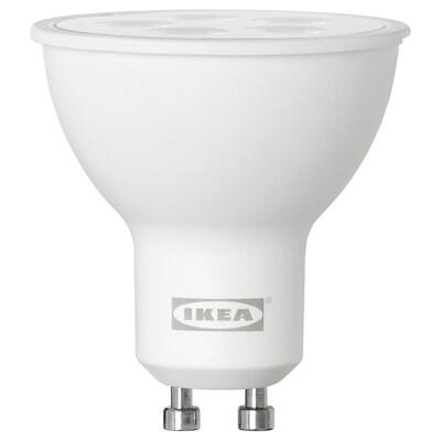 TRÅDFRI ทรวดฟรี หลอดไฟ LED GU10 400 ลูเมน, ไร้สาย หรี่ไฟได้ สีวอร์มไวท์