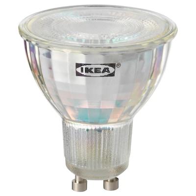 TRÅDFRI ทรวดฟรี หลอดไฟ LED GU10 400 ลูเมน, ไร้สาย หรี่ไฟได้ สเปกตรัมสีขาว