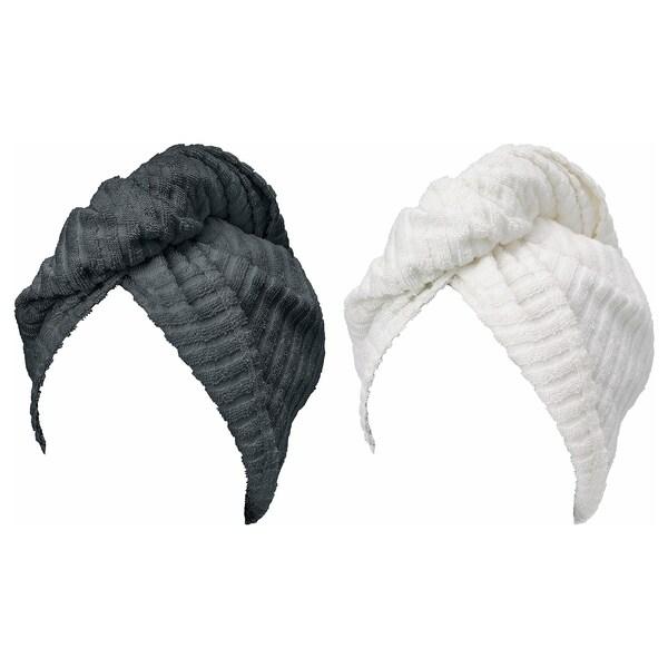 TRÄTTEN เทรทเตน หมวกผ้าคลุมผม, เทาเข้ม/ขาว