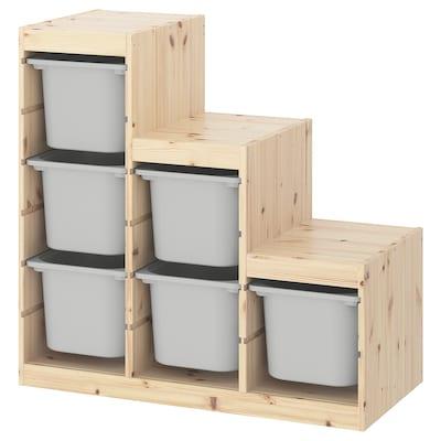 TROFAST ทรูฟัสท์ ชุดตู้เก็บของ, ไม้สนย้อมสีขาว/เทา, 94x44x91 ซม.