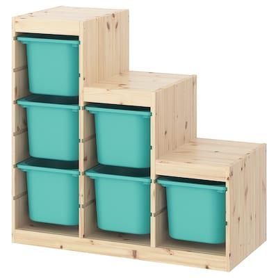 TROFAST ทรูฟัสท์ ชุดตู้เก็บของ, ไม้สนย้อมสีขาว/สีเทอร์ควอยซ์, 94x44x91 ซม.