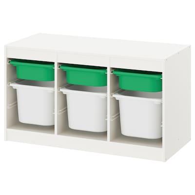 TROFAST ทรูฟัสท์ กล่องลิ้นชักเก็บของ, ขาว เขียว/ขาว, 99x44x56 ซม.