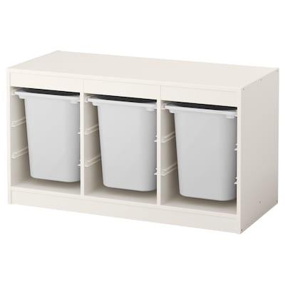 TROFAST ทรูฟัสท์ กล่องลิ้นชักเก็บของ, ขาว/ขาว, 99x44x56 ซม.