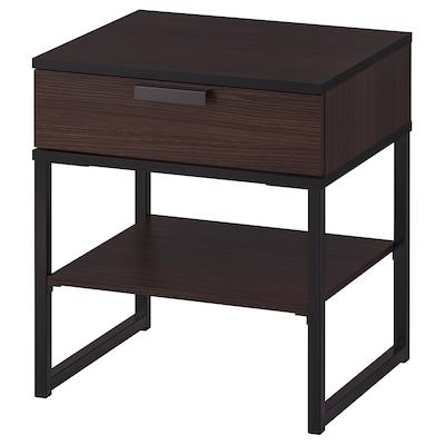 TRYSIL ทรือซีล โต๊ะข้างเตียง, น้ำตาลเข้ม/ดำ, 45x40 ซม.