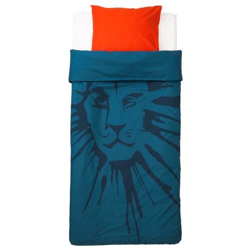 อูร์ชกูก ปลอกผ้านวมและปลอกหมอน รูปสิงโต/น้ำเงินเข้ม 200 ซม. 150 ซม. 50 ซม. 80 ซม.