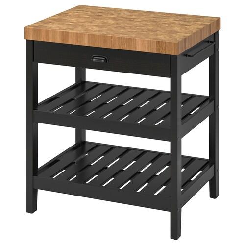 วาดโฮลมา โต๊ะเตรียมอาหาร ดำ/ไม้โอ๊ค 79 ซม. 62.5 ซม. 90 ซม.