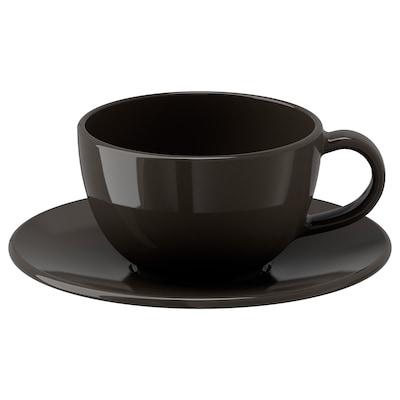 VARDAGEN วาร์ดาเกน ถ้วยกาแฟและจานรอง, เทาเข้ม, 14 ซล.