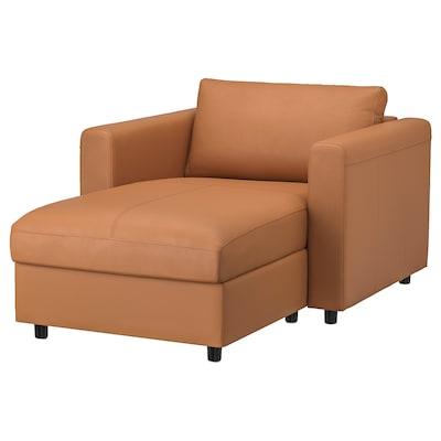 VIMLE วิมเล เก้าอี้นวมตัวยาว, กรันน์/บุมสตอด น้ำตาลทอง