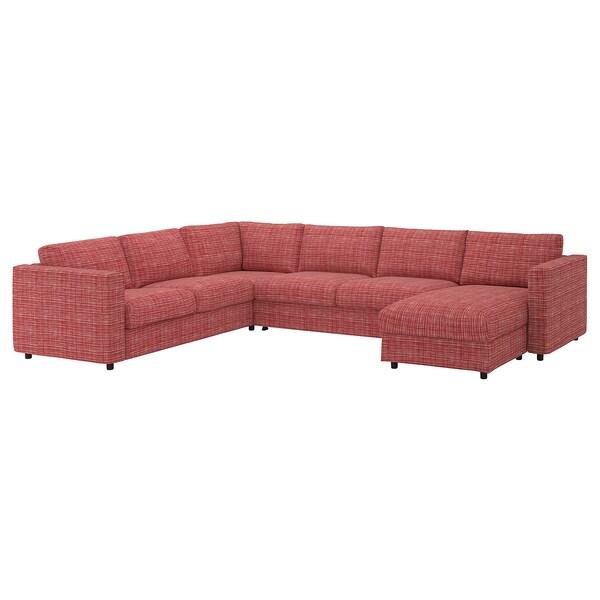 VIMLE วิมเล ผ้าหุ้มโซฟาเข้ามุม5ที่นั่ง, +เก้าอี้นวมตัวยาว/ดอลสตอร์ป หลากสี