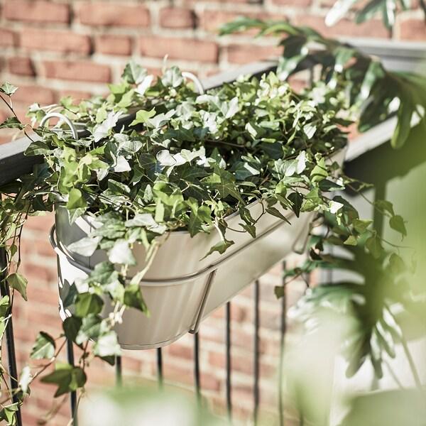 VITLÖK วีทเลิค กระถางดอกไม้มีหูแขวน, ใน/นอกอาคาร เบจ, 56x20 ซม.
