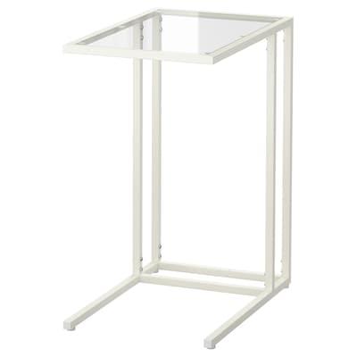 VITTSJÖ วิทท์เชอ โต๊ะวางแล็ปท็อป, ขาว/แก้ว, 35x65 ซม.