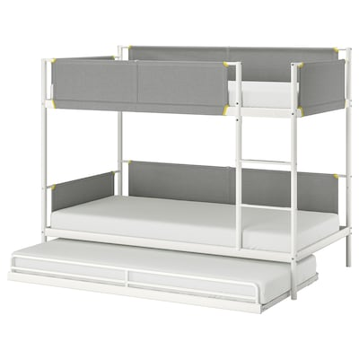 VITVAL วิตวาล โครงเตียงสองชั้นพร้อมเตียงเสริม, ขาว/เทาอ่อน, 90x200 ซม.