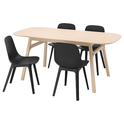 VOXLÖV วอกซ์เลิฟ / ODGER อูดเยียร์ โต๊ะและเก้าอี้ 4 ตัว, ไม้ไผ่/สีแอนทราไซต์, 180x90 ซม.