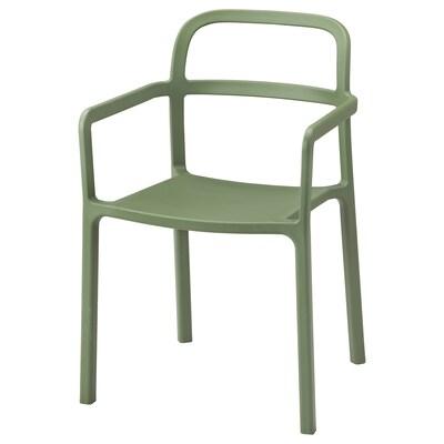 YPPERLIG อิปเปอร์ลิก เก้าอี้มีที่วางแขน ใน/นอกอาคาร, เขียว