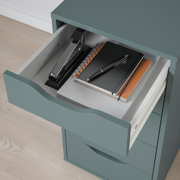 ALEX АЛЕКС Тумба із шухлядами, сіро-бірюзовий, 36x70 см