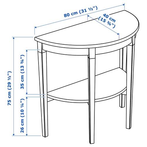 ARKELSTORP АРКЕЛЬСТОРП Напівкруглий столик, чорний, 80x40x75 см