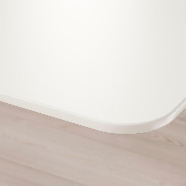 BEKANT БЕКАНТ Кутовий письм стіл лівоб/регульован, білий, 160x110 см
