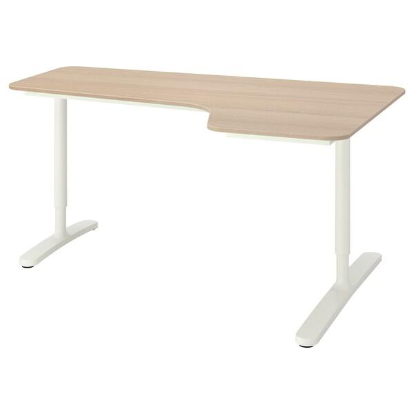 BEKANT БЕКАНТ Кутовий письмовий стіл правобічний, білений дубовий шпон/білий, 160x110 см