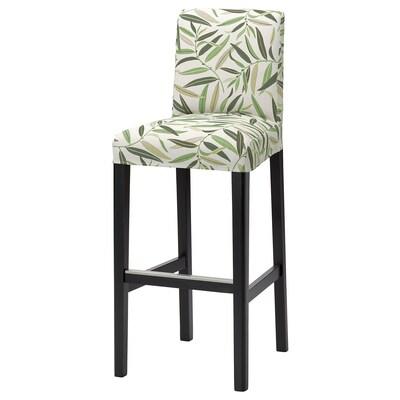 BERGMUND БЕРГМУНД Барний стілець зі спинкою, чорний/ФОГЕЛЬФОРС різнобарвний, 75 см