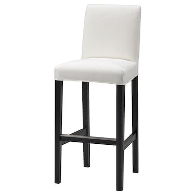 BERGMUND БЕРГМУНД Барний стілець зі спинкою, чорний/ІНСЕРОС білий, 75 см