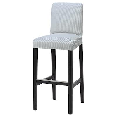 BERGMUND БЕРГМУНД Барний стілець зі спинкою, чорний/РОММЕЛЕ темно-синій/білий, 75 см